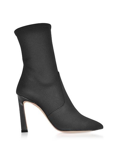Rapture 100 Black Nylon High Heel Boots - Stuart Weitzman