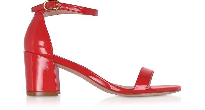 Simple Follow Me Red Patent Leather Sandals - Stuart Weitzman
