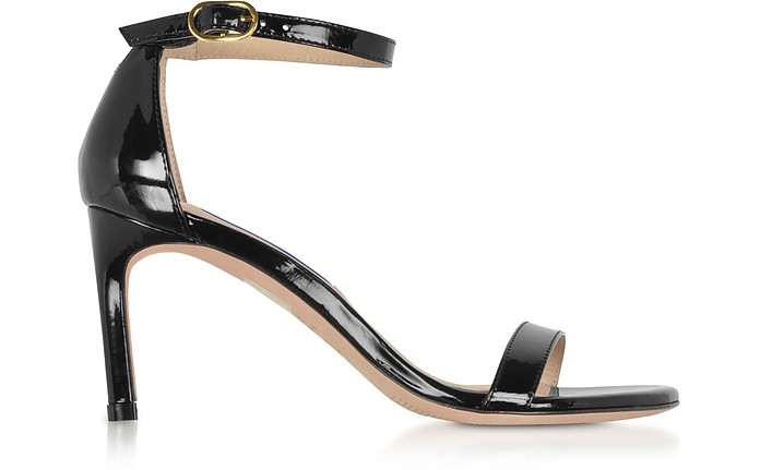 The Nunaked Straight Black Patent Leather Sandals - Stuart Weitzman
