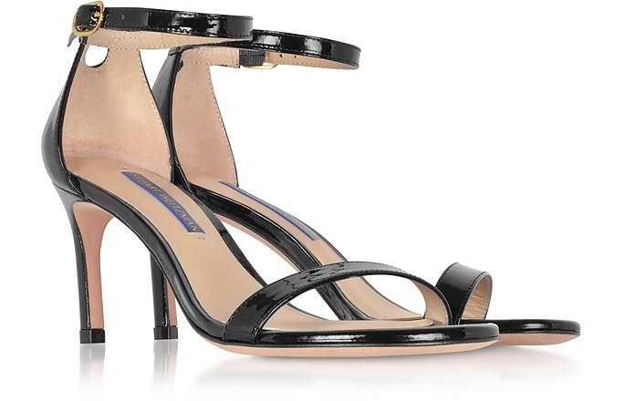 f3d195f1c557 Stuart Weitzman The Nunaked Straight Black Patent Leather Sandals 39 IT EU  at FORZIERI