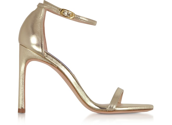 Nudistsong Platino Nappa Leather High Heel Sandals - Stuart Weitzman