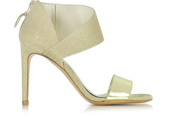 Getonup Pale Gold Nocturne Textured-lame Sandals - Stuart Weitzman
