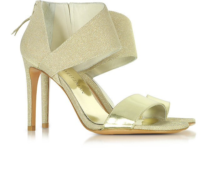 Stuart Weitzman Designer Shoes, Getonup Pale Nocturne Textured-lame Sandals