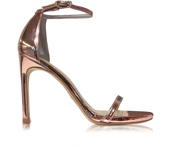 843531e3198 Nudistsong Rose Gold-tone Glass Microfiber High Heel Sandals - Stuart  Weitzman