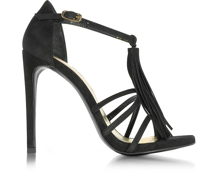 Frabtion 黑色麂皮流苏凉鞋 - Stuart Weitzman