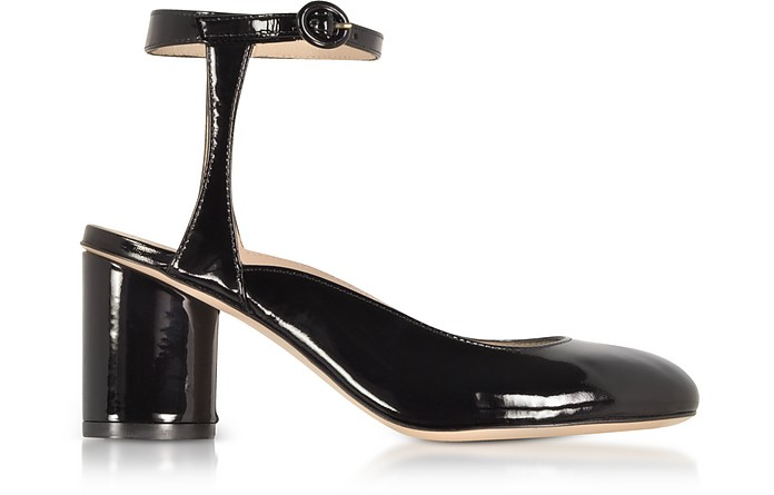 Shape Black Patent Leather Heel Pumps - Stuart Weitzman
