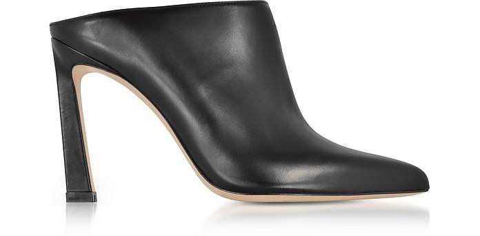 Camila Black Nappa Leather High Heel Mules - Stuart Weitzman