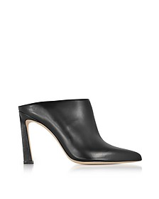 Camila Black Nappa Leather High Heel Mules - Stuart Weitzman