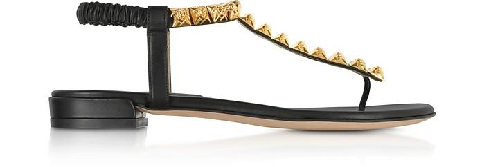 Black LeatherThe Esme Flat Sandals - Stuart Weitzman