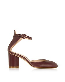 Red Garnet Leather Kara Mid-Heel Pump - Stuart Weitzman
