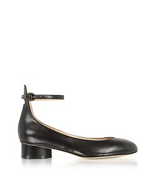 Polly Black Leather Mid-Heel Pump - Stuart Weitzman