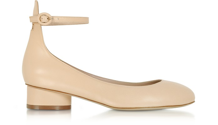 Polly Blush Leather Mid-Heel Pumps - Stuart Weitzman