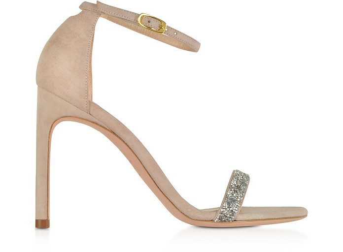 Nudistsong Suede and Crystals High Heel Sandals  - Stuart Weitzman