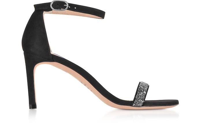 Nunakedstraight Black Suede and Crystals Mid-Heel Sandals - Stuart Weitzman