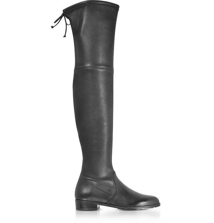 6047163e9b1 Stuart Weitzman Lowland Black Stretch Leather Over The Knee Boots 35 ...