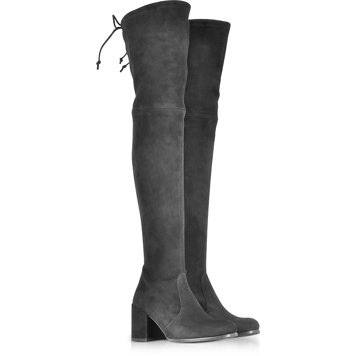 fe648912f82 Tieland Black Suede Mid-Heel Over The Knee Boots - Stuart Weitzman. Sold Out