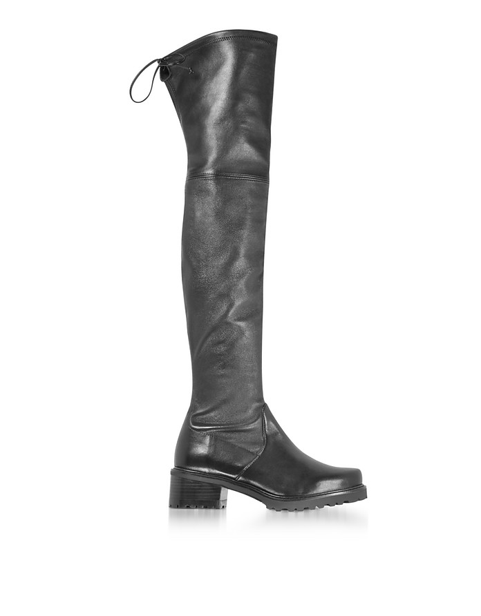 Vanland Black Stretch Leather Over The Knee Boots w/Brown Sole - Stuart Weitzman