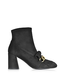 Ringleader Black Ultra Stretch Suede Heel Boots w/Fringes and Golden Chain - Stuart Weitzman