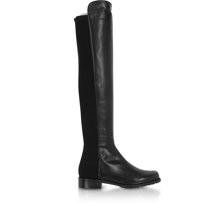 The 5050 Black Leather Boots - Stuart Weitzman