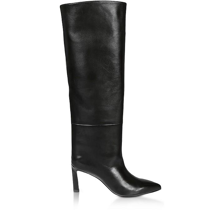 Emiline Hig Heel Black Leather Boots - Stuart Weitzman
