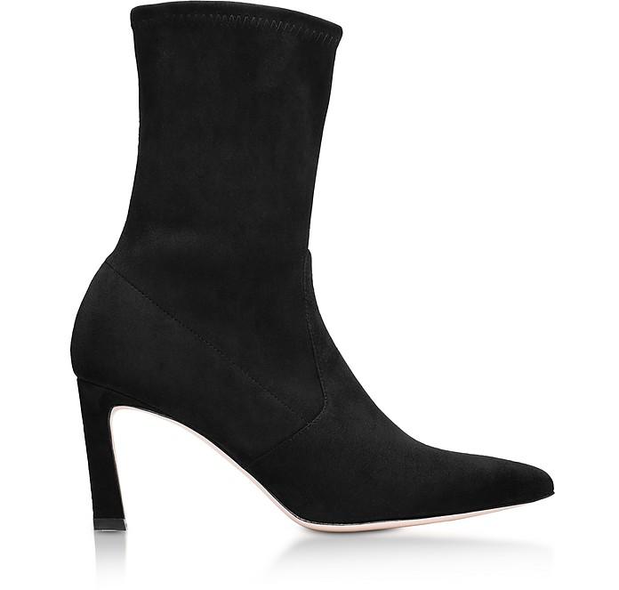 Rapture Black Suede Mid-Heel Ankle Boots - Stuart Weitzman