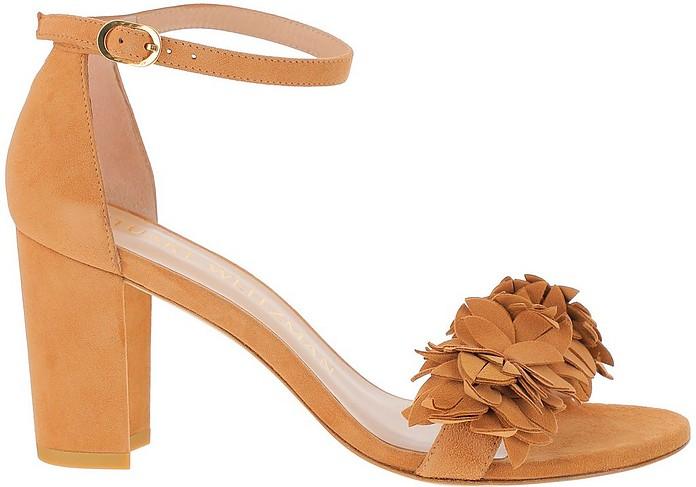 Caramel Suede Mid-Heel Nearly Nude Floral Sandals - Stuart Weitzman