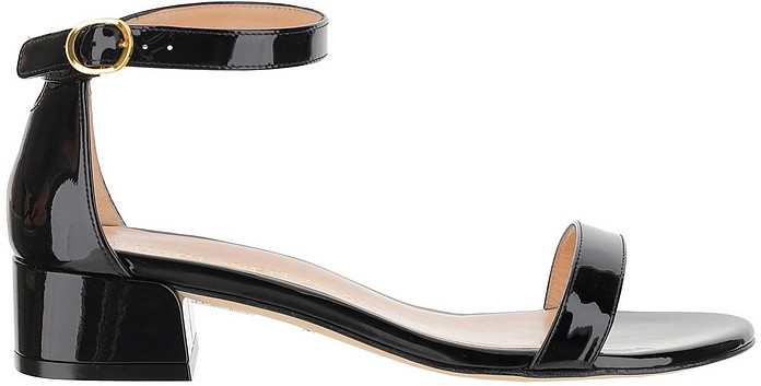 Nudistjune Black Patent Leather Mid Heel Sandals - Stuart Weitzman
