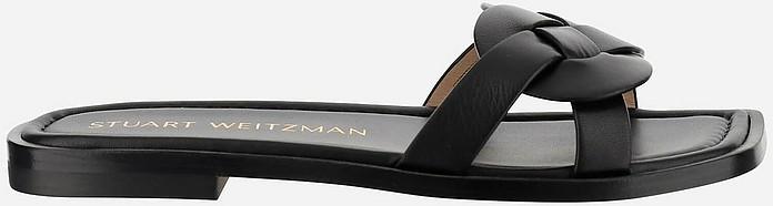 Black Leather Flat Slide Sandals - Stuart Weitzman