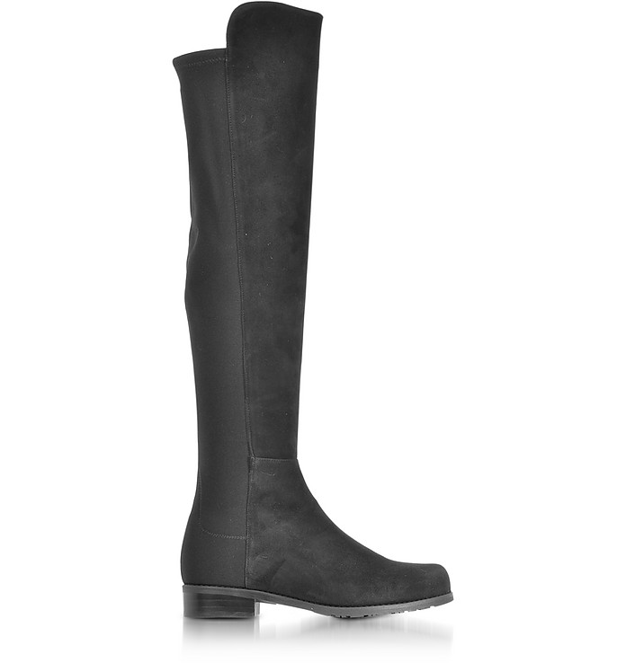 5050 Black Suede and Stretch Fabric Over The Knee Boots - Stuart Weitzman