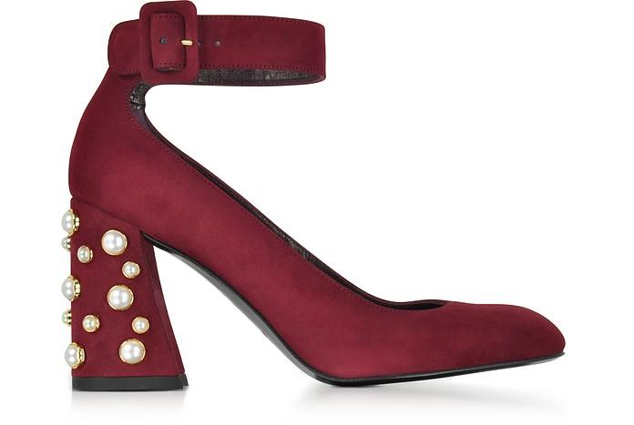 Pearlclarisa Scarlet Suede Ankle Strap Pumps w/Pearls - Stuart Weitzman