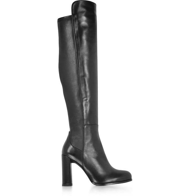 Alljill Black Stretch Leather High Heel Over The Knee Boots - Stuart Weitzman