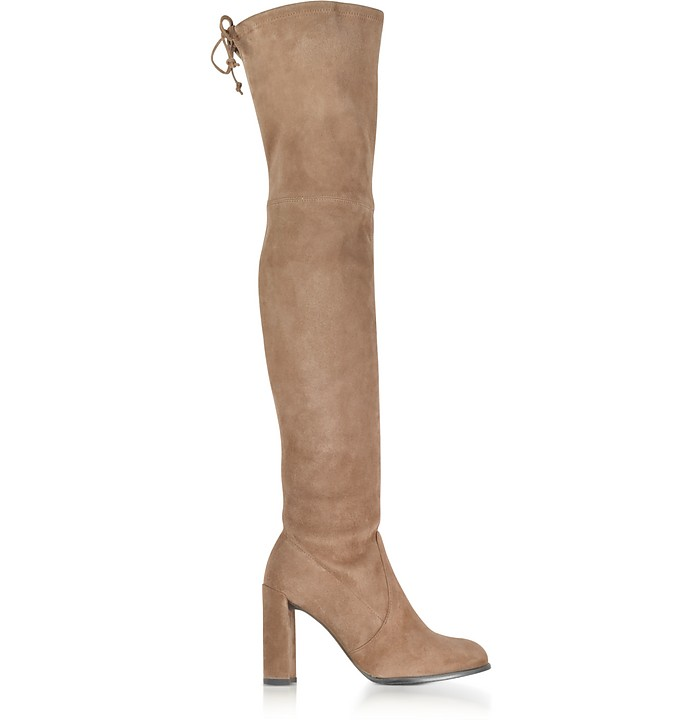 Hiline Nutmeg Suede Heel Over The Knee Boots - Stuart Weitzman