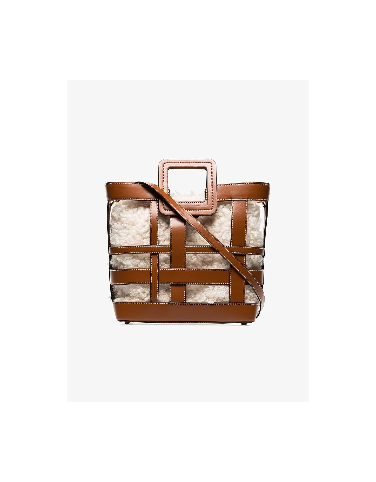 Staud Totes PLAID SHIRLEY SHEARLING LEATHER TOTE BAG