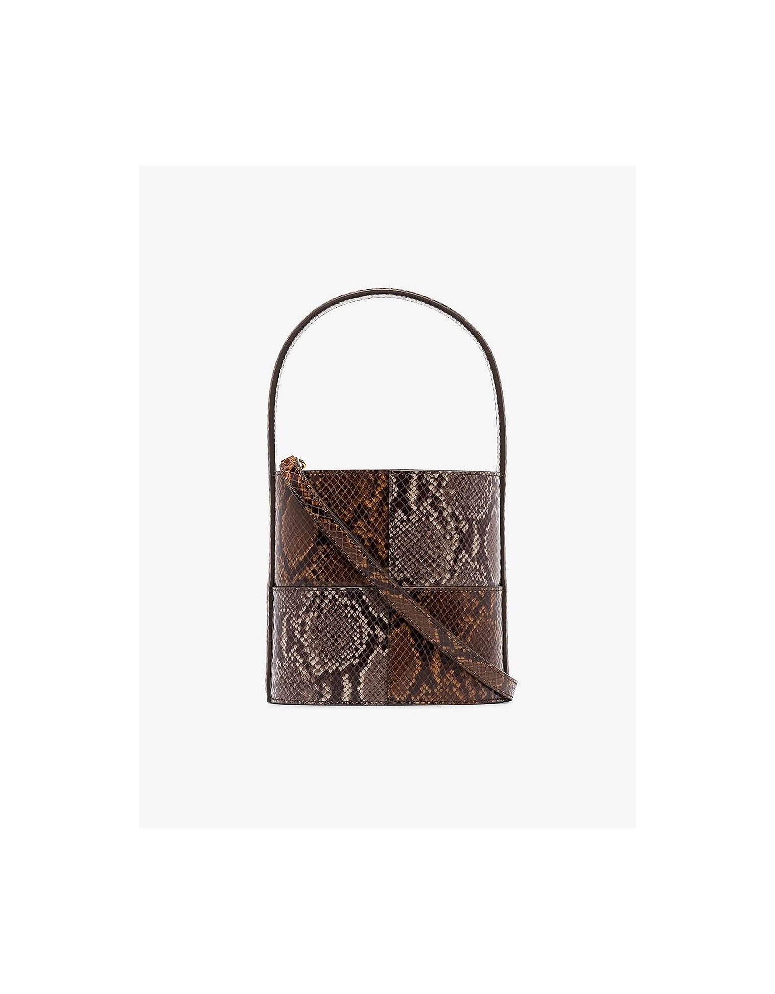 Staud Bags BISSET BICOLOR SNAKE EMBOSSED LEATHER BUCKET BAG