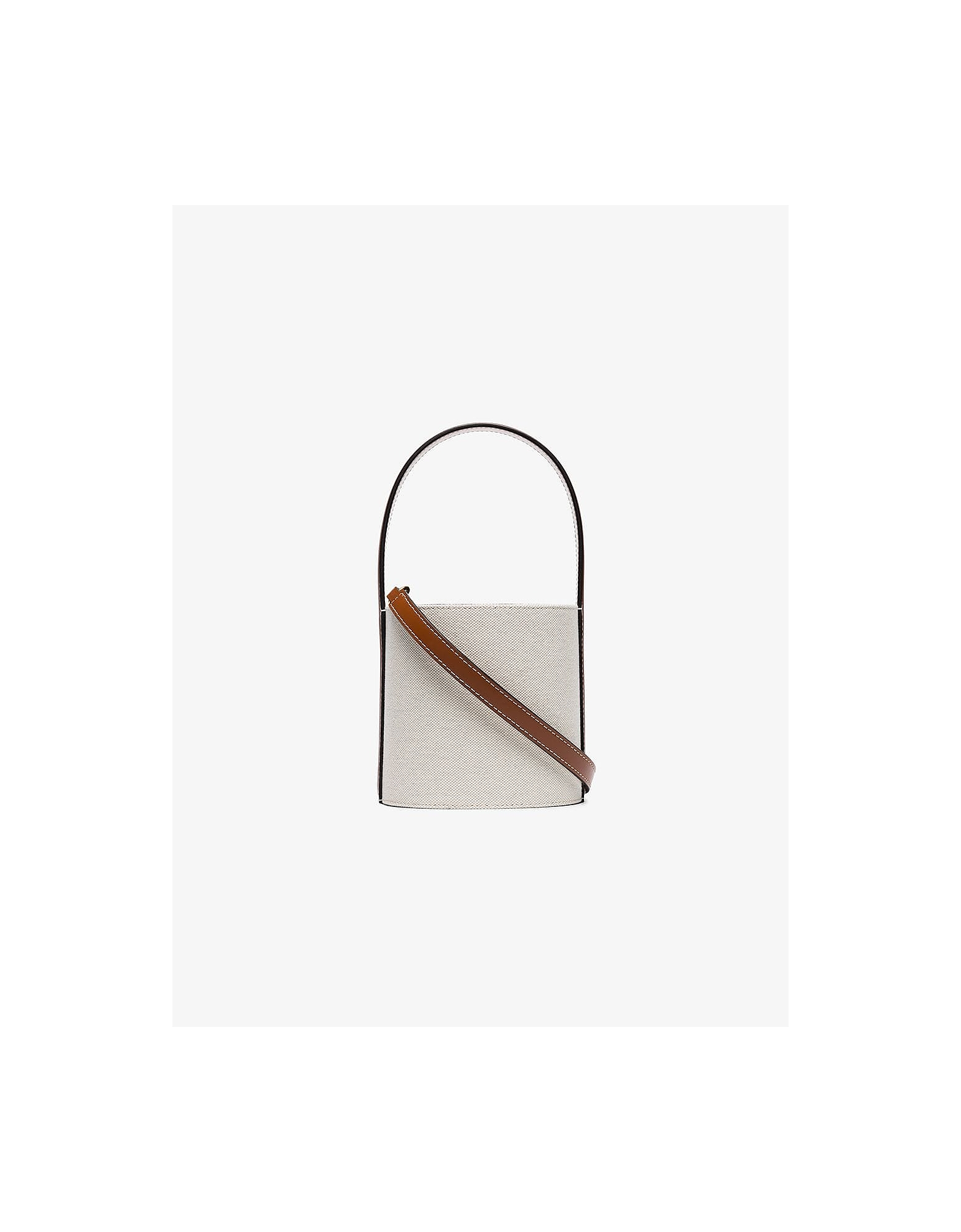 Staud Bags BROWN AND WHITE MINI BISSET BUCKET BAG