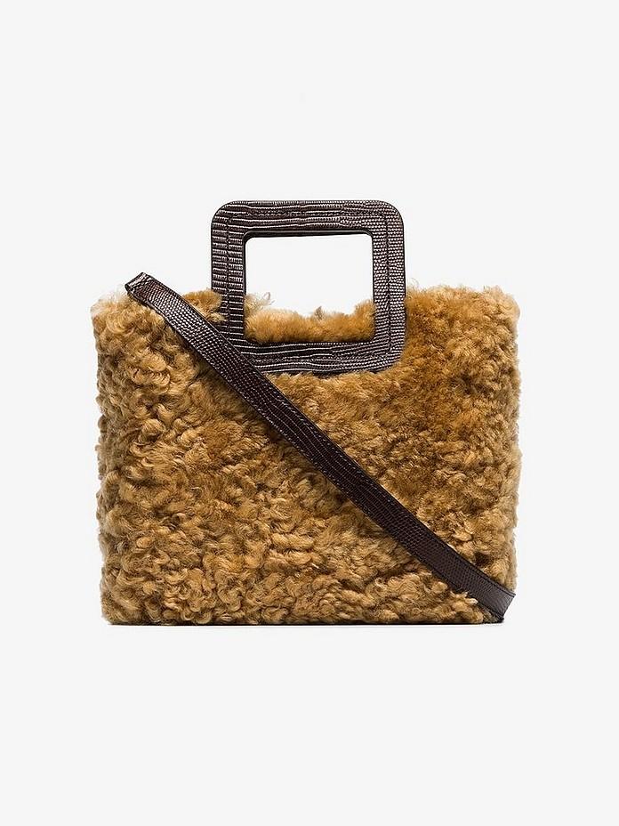 Staud Totes Plaid Mini Shirley Shearling Tote Bag