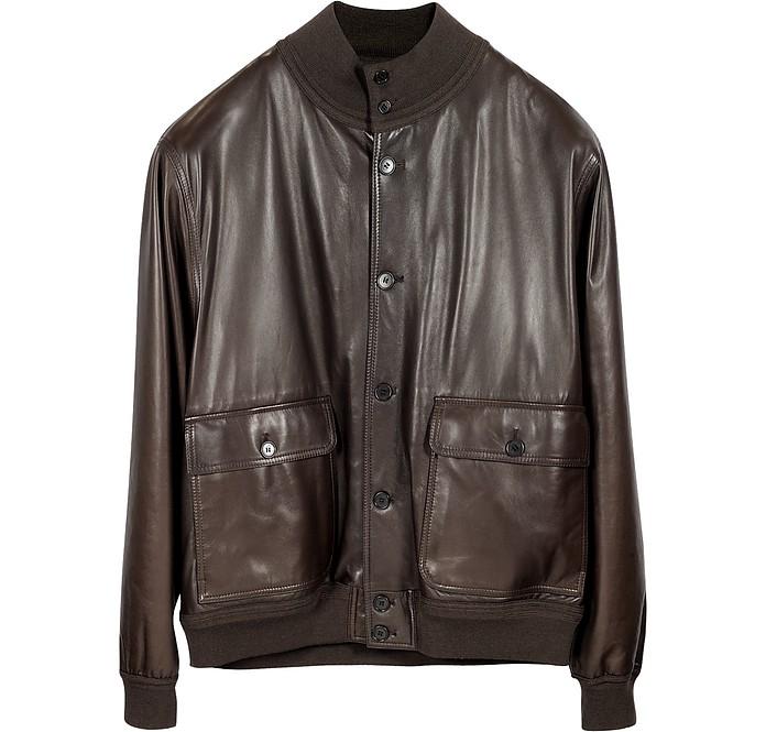 Men's Dark Brown Leather Jacket w/Chasmere Lining - Schiatti & Co.