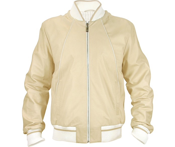 Men's Beige Nappa Leather Zip Jacket - Schiatti & Co.