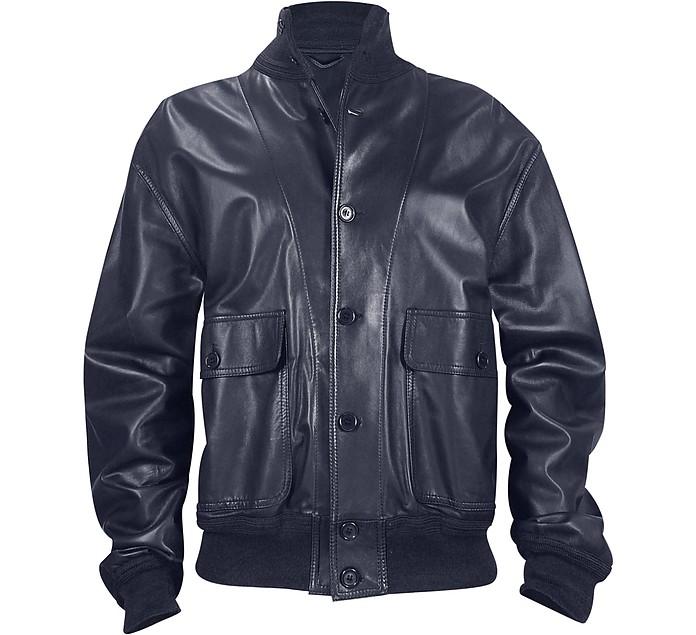 Men's Dark Blue Italian Nappa Leather Two-Pocket Jacket - Schiatti & Co.