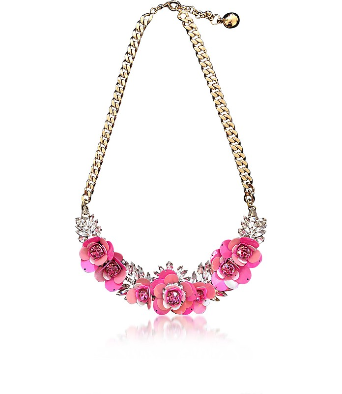 Pink Rosa Necklace w/Crystal and Sequins - Shourouk