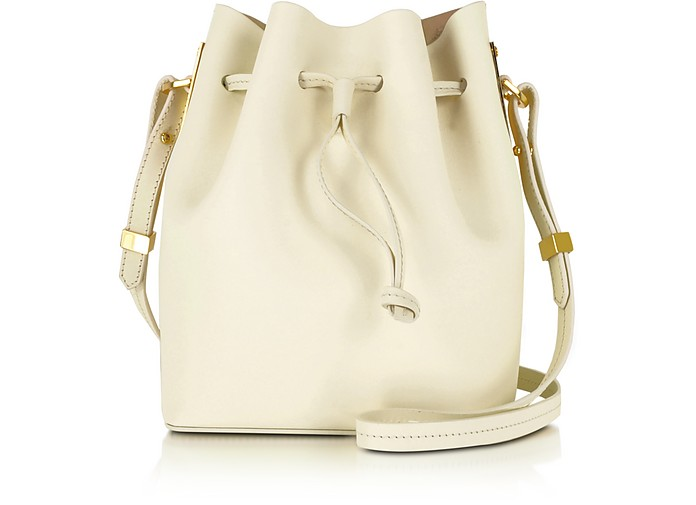 Cream Leather Small Bucket Bag - Sophie Hulme