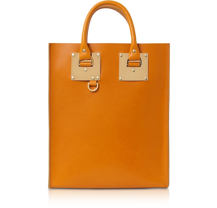 Mini Albion Toffee Shiny Saddle leather Tote Bag - Sophie Hulme