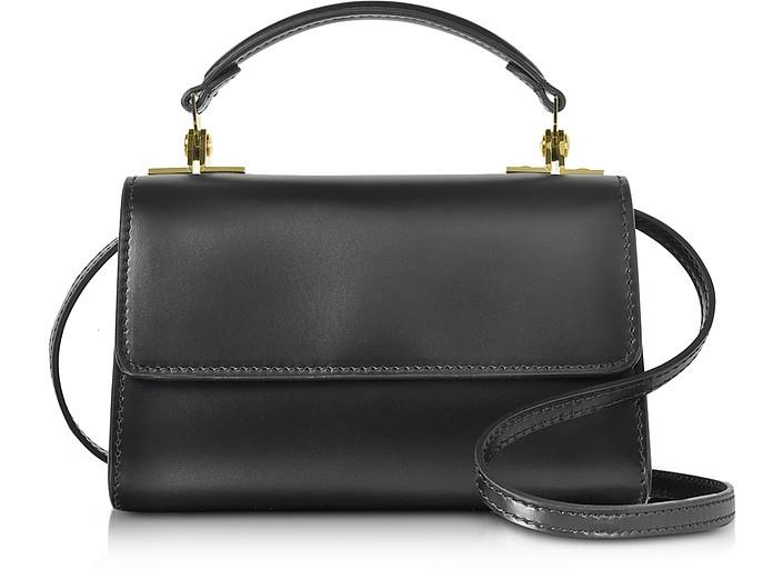Black Leather Parker Nano Crossbody Bag - Sophie Hulme