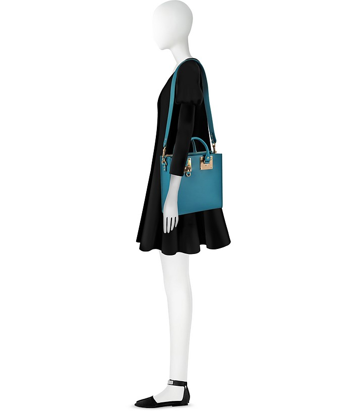 Square Albion Leather Tote Bag Sophie Hulme Verde Lagoon 1gxYXIONmb