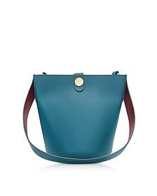 The Swing Blue Lagoon/Fire Brick Leather Bucket Bag - Sophie Hulme