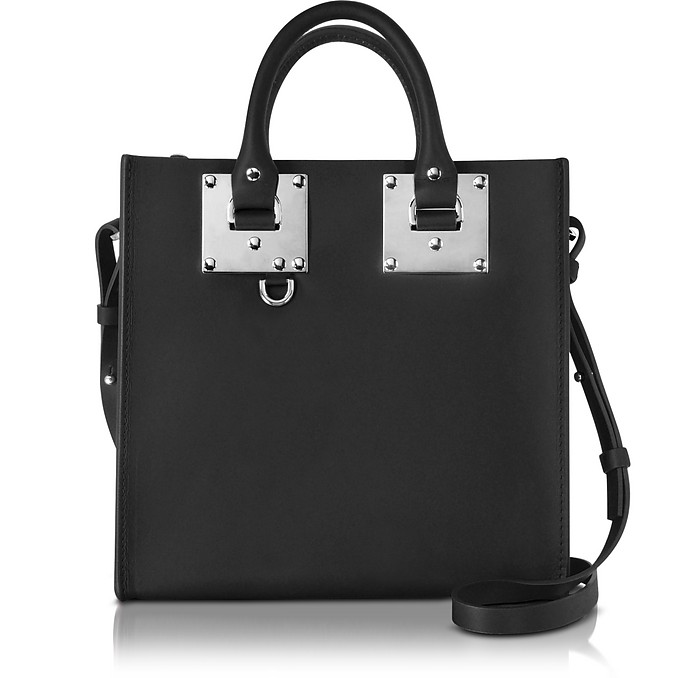 Black Saddle Leather Square Albion Tote - Sophie Hulme
