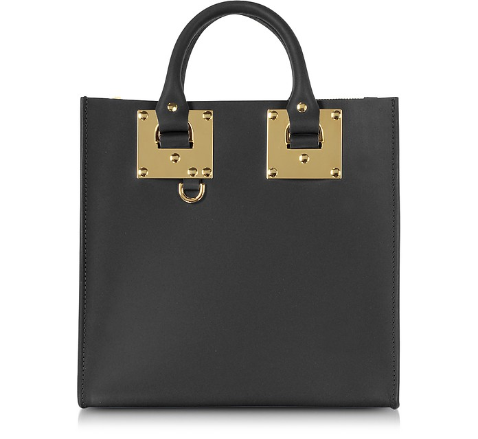 Black Albion Square Leather Tote - Sophie Hulme