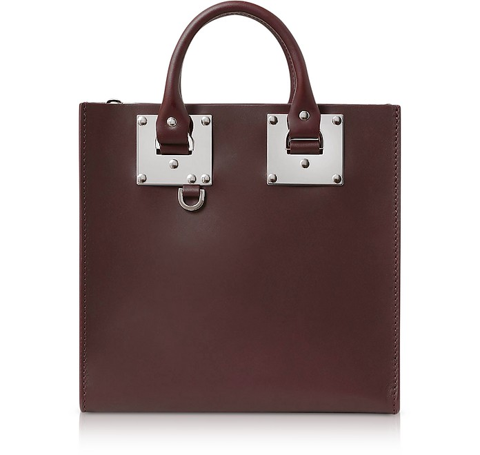 Oxblood Saddle Leather Square Albion Tote - Sophie Hulme