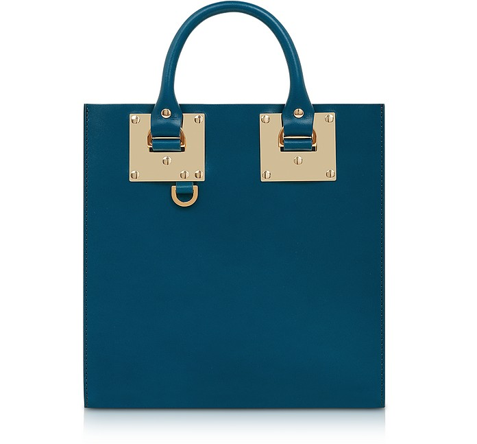 Blue Canard Square Leather Tote - Sophie Hulme
