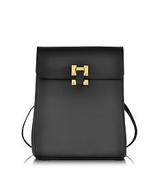 Black Leather Box Flap Rucksack